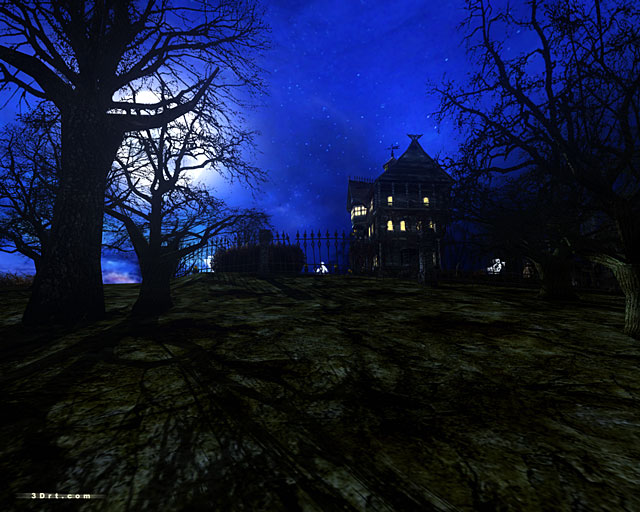 """Right click the size that fits your screen resolution and select """"Save ...: www.3drt.com/savers/dark_mansion/dark_forest_mansion.htm"""