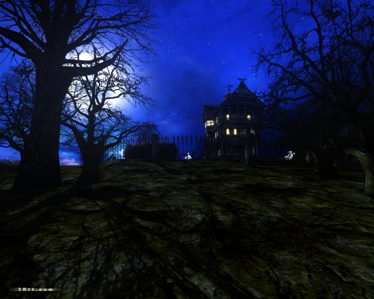 Dark forest mansion screensaver for Wallpaper with houses on