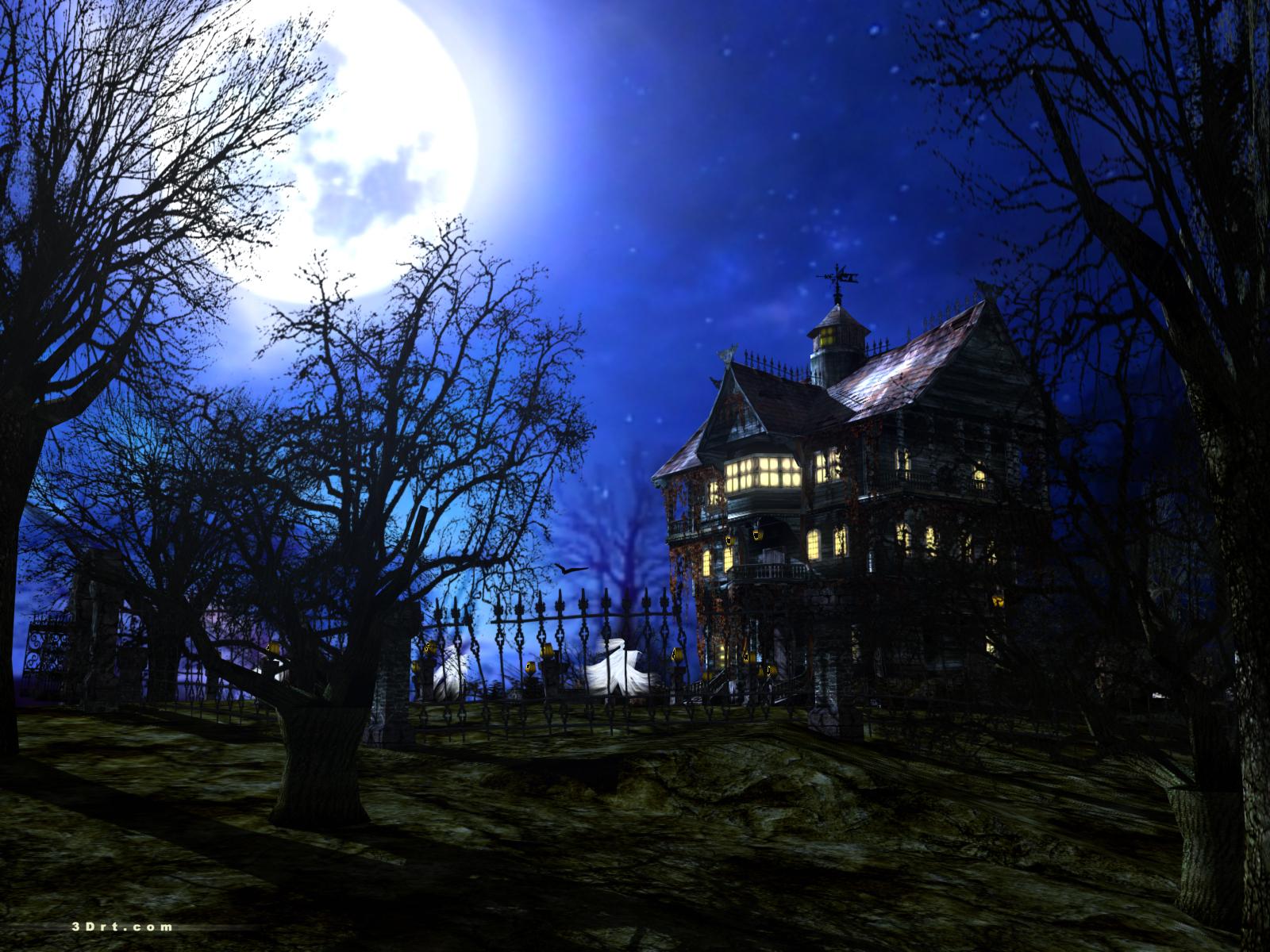 Dark forest mansion screensaver for Wallpaper home photos