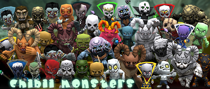 chibii monsters skeletons demons mages cartoony 3d animated models pack