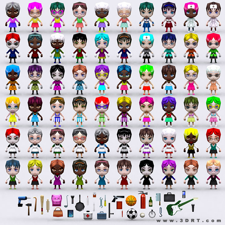 chibi people females lowpoly 3d animated models pack