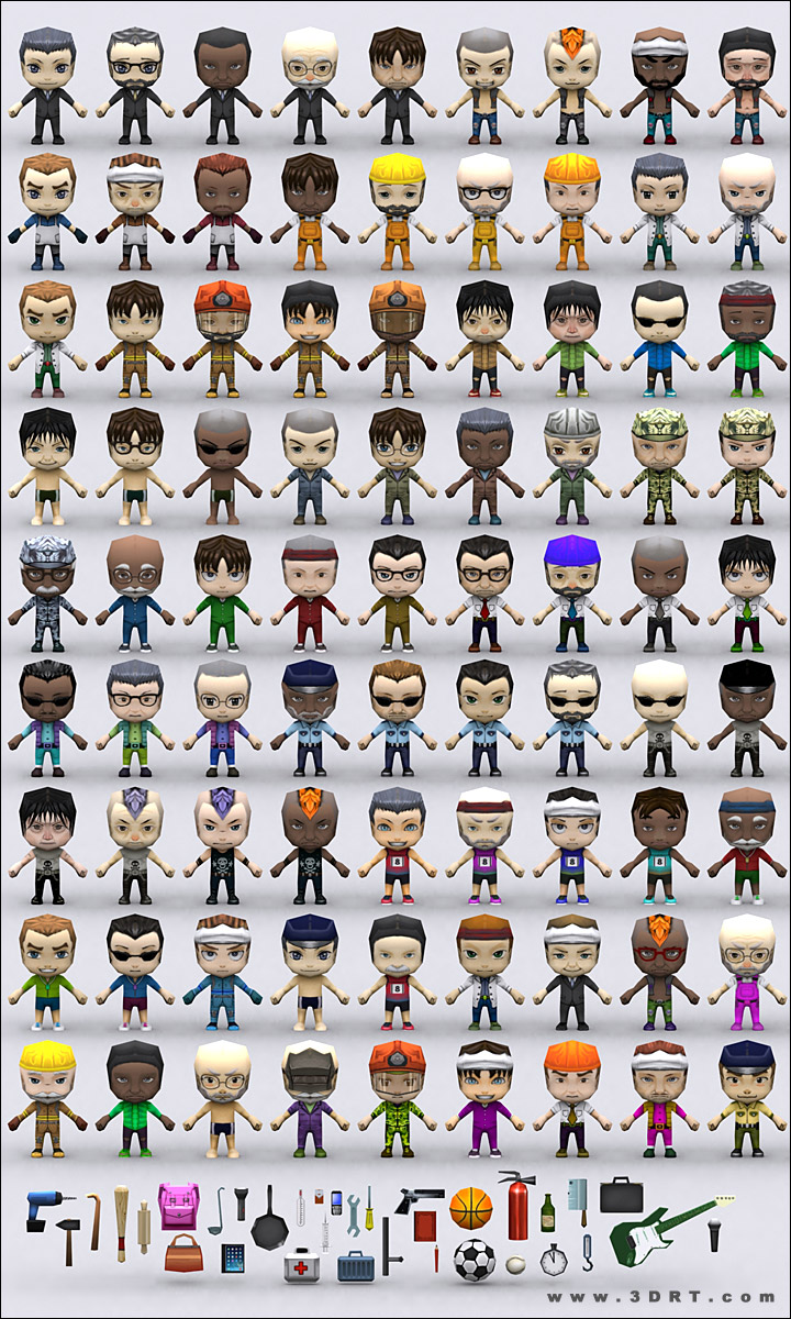 chibi people males lowpoly 3d animated models pack