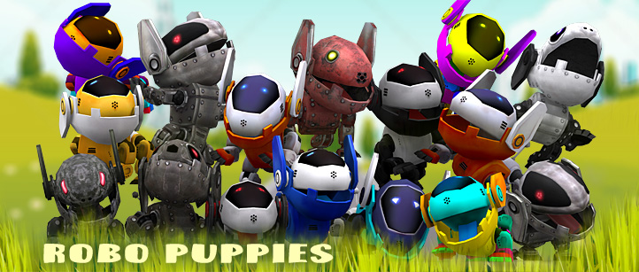 robo puppies robopuppies pets pups animated lowpoly dogs